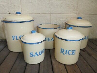 Vintage Set of 5 enamel canisters cream and blue.