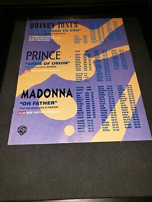Prince/Madonna/Quincy Jones Rare Original Radio Promo Poster Ad Framed!