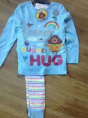 Pyjamas Age 3-4 Yrs Hey Duggee Cbeebies Blue Mix Long Sleeves Striped Bottoms