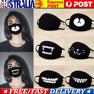 ✅1/4/6 Packs Washable Funny Face Covers Reusable Anti-Flu Cute Mouth Covers AU