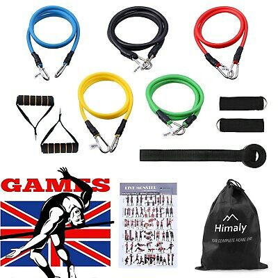 11PCS Fitness Yoga Bands Gym Kit Tubes With Handle Door Anchor Ankle Resistance