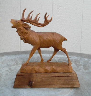 ANTIQUE BLACK FOREST ELK STAG OBERAMMERGAU GERMANY CARVED WOOD SCULPTURE c.1933