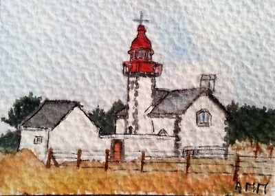 BRETAGNE PHARE BELLE ÎLE French Watercolors Aquarelle originale signée peinture