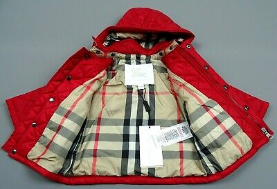New Burberry Baby Girl Quilted Jacket Coat Red Age 9 Months (74cm) RRP £220