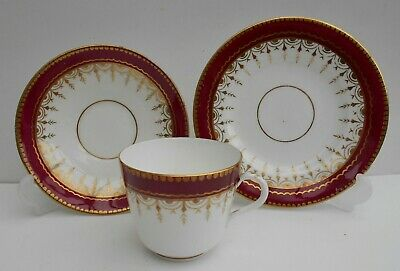 Antique Russian Imperial Gardner Maroon Ground Floral Trio Cup Saucer Plate
