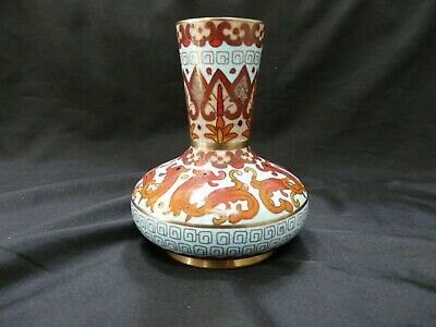 Antique Vintage Chinese Cloisonne Enamel over Brass Vase