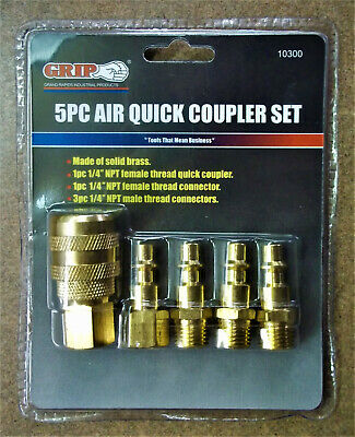 """GRIP BRASS 5 PC SET 1/4"""" QUICK CONNECT COUPLER AIR FITTING KIT - Sealed Kit!"""