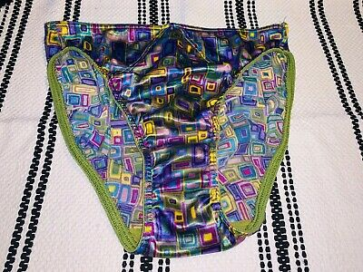 Vtg New Victoria's Secret Multicolored Second Skin Satin Hipster Panties M