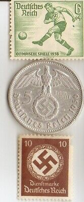 *1936-*german *Olympic STAMP+ SILVER  EAGLE(.900%) coin+WW2- STAMP