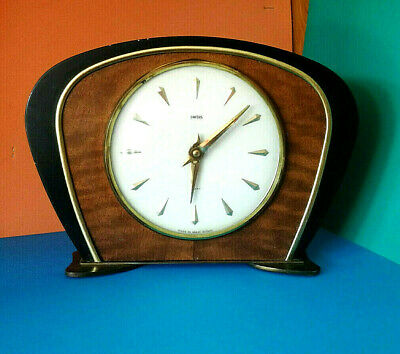 SMITHS 8 DAY WOODEN MANTLE RETRO VINTAGE WIND UP CLOCK FOR REPAIR 1950's