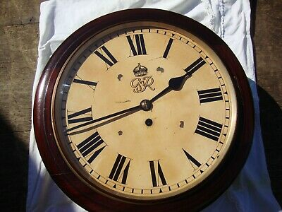 Wwii George Vi 8 Day English Mahogany Fusee Dial Clock