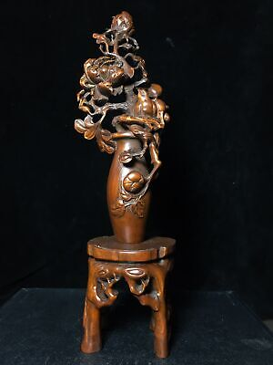 Collect China Old Boxwood Hand-Carved Bloomy Flower Delicate Auspicious Statue