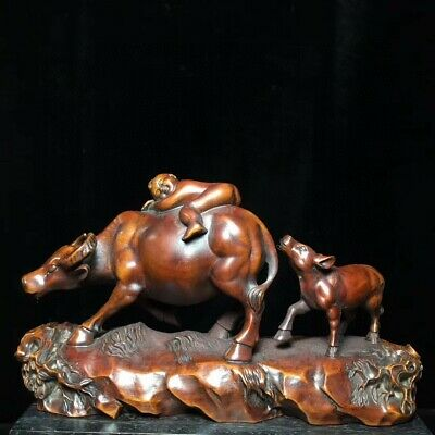 Collectable China Old Boxwood Hand-Carved Fairchild Ride Cattle Delicate Statue
