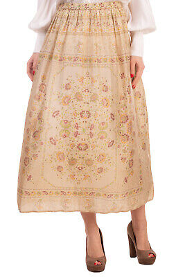 RRP €170 MES DEMOISELLES Silk Midi Vintage Flare Skirt Size 42 Floral Pattern