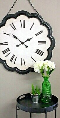 Large Wooden Black Wall Clock Hanging Chain 81cm Retro Antique Style Home Decor