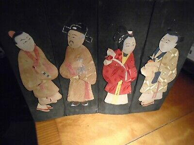Antique Oriental Panel-Eight Figures Made From Different Material