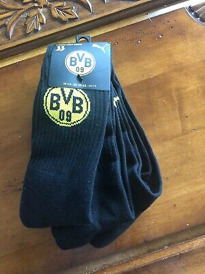 Puma Official BVB Crew Socks - 3 Pack Size EU 39-42 UK 6-8 Borussia Dortmund
