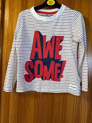 """Joules Girls Blue White Stripe Long Sleeve Top Age 5 Years """" Awesome"""""""
