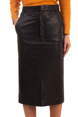 RRP €350 JOSEPH Midi Straight Skirt Size 38 / M Black Faux Leather Cut Out Front