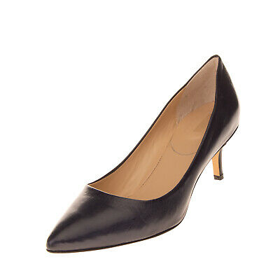 PAVIN Leather Court Shoes Size 37 UK 4 US 7 Polished Mid Slim Heel Made in Italy