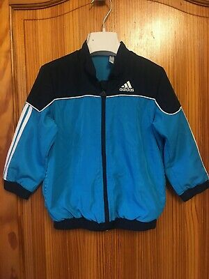 Adidas Tracksuit Top Trackie Jacket Age 2-3 Years Blue Zipper