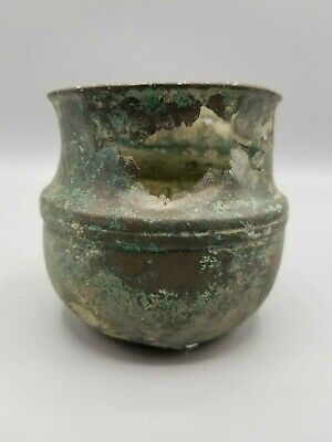 Ancient Roman Or Greek Bronze Fluted Vessel 3.5 Inches Tall / #2
