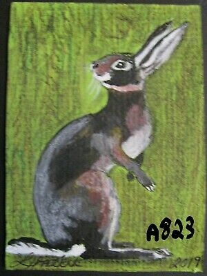 "A823       Original Acrylic Aceo Painting By Ljh         ""Rabbit''"