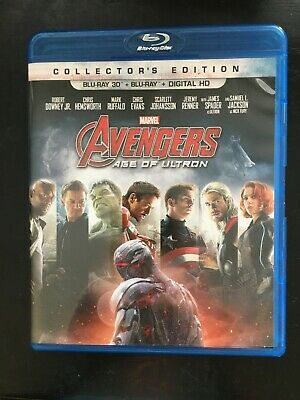 AVENGERS AGE OF ULTRON 2 Disc Blu-ray 3D Set Marvel Collectors Edition. Like New