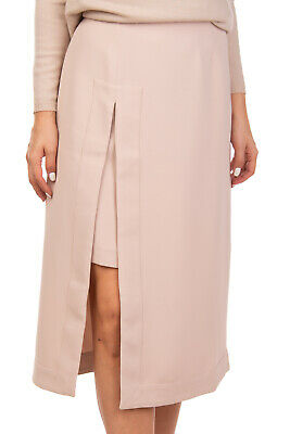 IRIS & INK Straight Skirt Size UK 12 / L Beige Unlined Layered High Slit