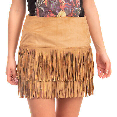 RRP €110 VICOLO Mini Skirt Size M Suede Effect Fringe Trim Made in Italy