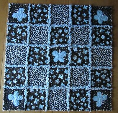 Butterfly Rag Quilt Brown & Turquoise Butterflies Applique
