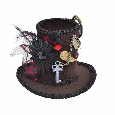 Steampunk Tall Mini Top Hat Ladies Mad Hatter Halloween Fancy Dress Accessory
