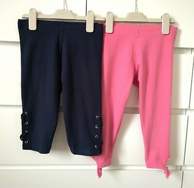 NEXT___2x cropped leggings navy and pink girl age 8 yrs VGC