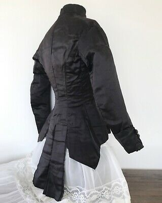 AUTHENTIC 19th Century ANTIQUE VICTORIAN BLACK SILK Sateen HOURGLASS BODICE XXS