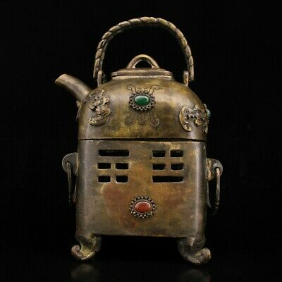 Collect China Old Bronze Inlay Agate Hand-Carved Bat Moral Auspicious Teakettle