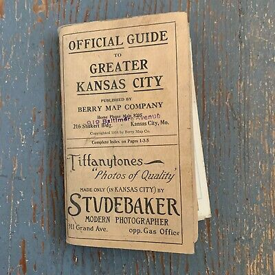 1915 Official Guide Map Greater Kansas City Published BERRY MAP COMPANY