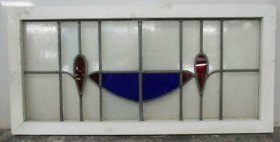 "OLD ENGLISH LEADED STAINED GLASS WINDOW TRANSOM Red & Blue Abstract 33.5""x16.25"""