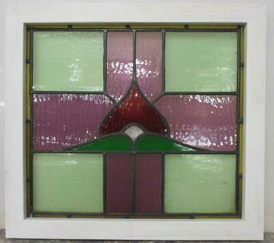 "MIDSIZE OLD ENGLISH LEADED STAINED GLASS WINDOW Colorful Cross 23.75"" x 21.75"""