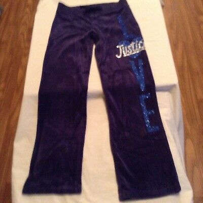 Size 8 Girls Justice pants yoga sweat pants exercise glitter blue