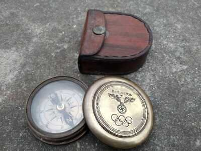 Solid Brass Push Button Compass Antique Compass Gift with Case