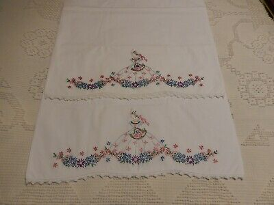 Vintage Southern Belle Girl Embroidered Pillow Cases Embroidered & Crochet