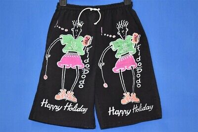 vintage 80s 7UP FIDO DIDO HAPPY HOLIDAY BLACK 2 SIDED MEN'S SHORTS SMALL S