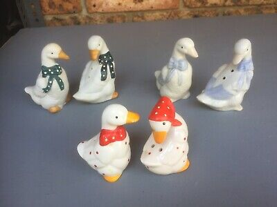 Vintage  Retro SALT & PEPPER SHAKERS Duck Collection 3 Pairs