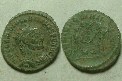Rare Genuine ancient Roman coin post reform radiate Diocletian Jupiter Victory