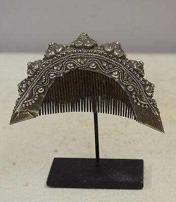 Comb Southeast Asian Etched Silver Flower Comb