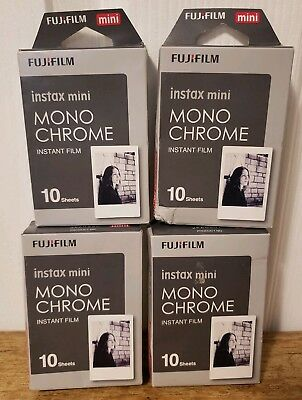 Fujifilm Instax 4 Pack Mini Monochrome 10 Sheets(40 TOTAL Exposures)☆EXP: 3/20☆