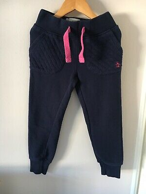 Girls Navy Penguin Tracksuit Trousers, Size 5-6 Years