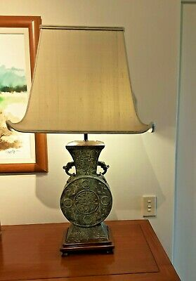 Large Bronze Chinese Lamp Base Metal PERFECT CONDITION - Can arrange shipment