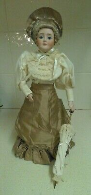 Porcelain /Stuffed Doll - 1900? Style Dress - Intricate Detail - Mohair? Wig