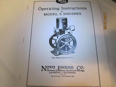 1925 Novo Type S  Gas Engine  Instruction  Manual gas, kero, gasoline